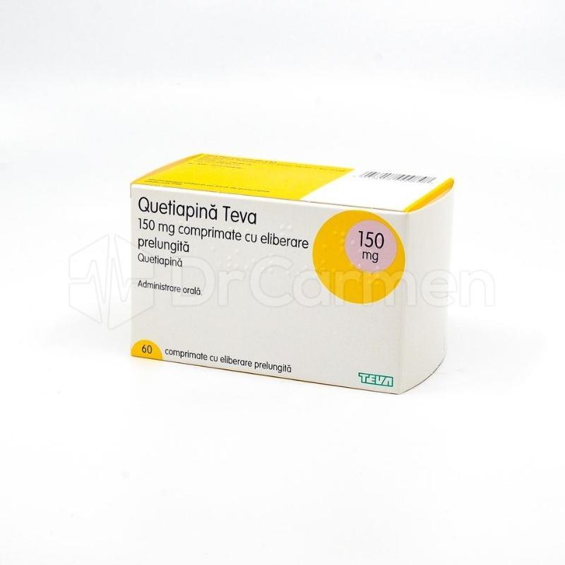 QUETIAPINA TEVA mg X 60 COMPR. ELIB. PREL. mg TEVA PHARMACEUTICALS - Pret 53,81 Lei
